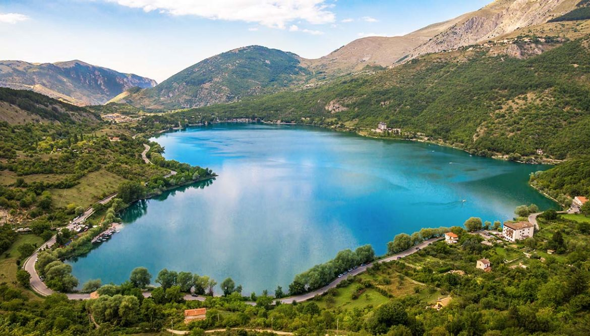 When nature is romantic: the heart-shaped lake on the Apennines mountains, in Abruzzo region, central Italy